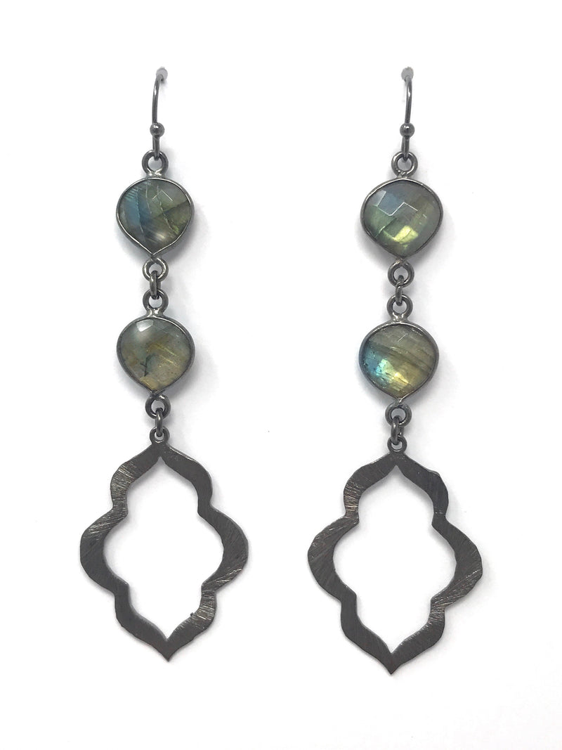 Labradorite and Small Gunmetal Scalloped Drop Wire Earrings