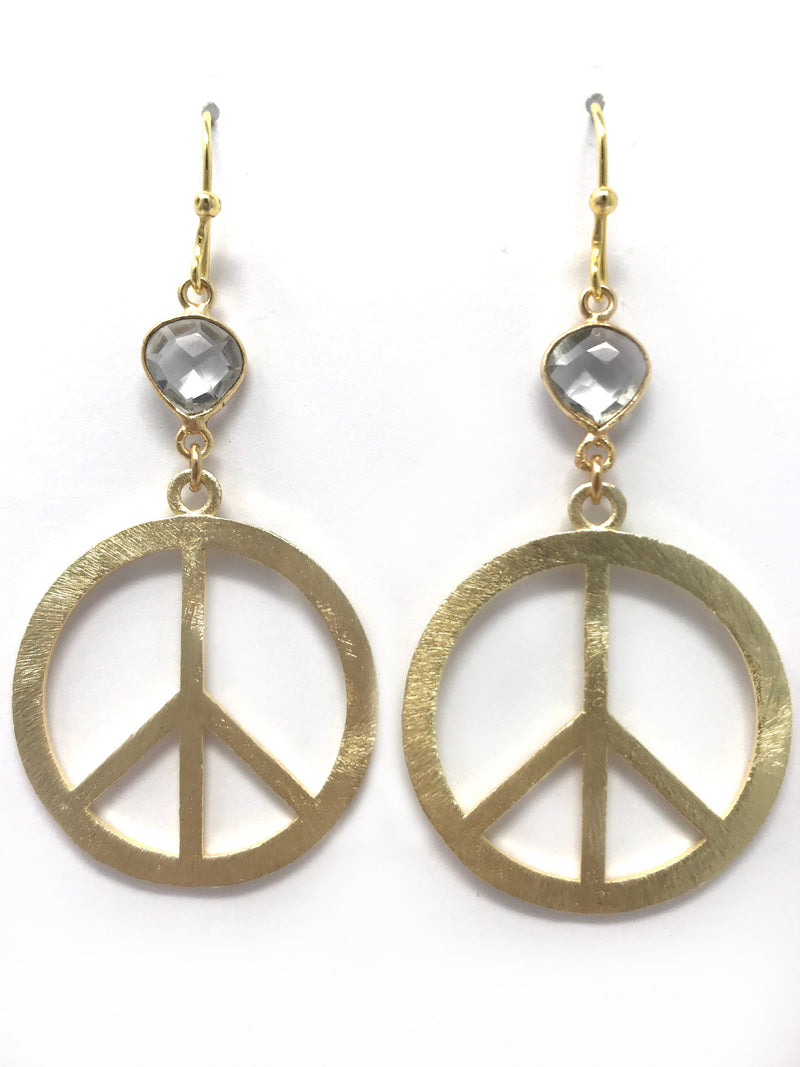 Quartz and Gold Peace Sign Earrings