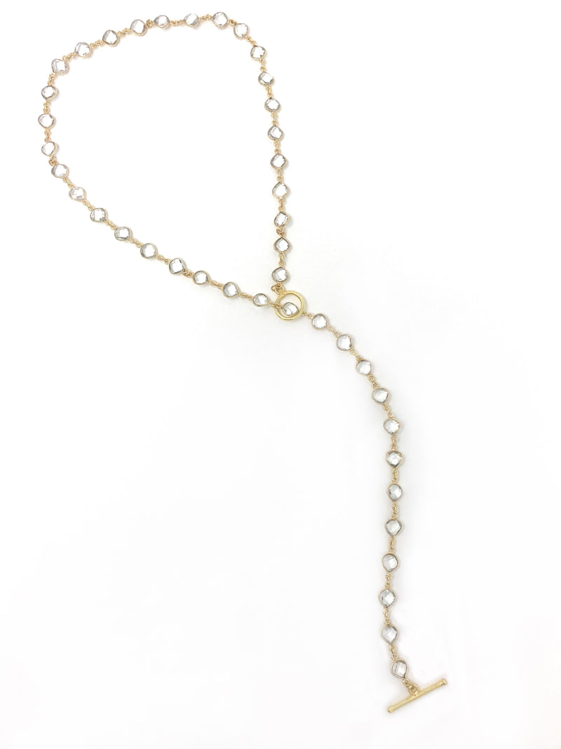 Quartz Bezel Set Gold Lariat, Necklace, Bracelet with Toggle Clasp