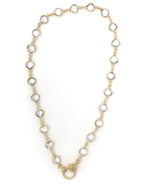 Quartz Bezel Set Chain with Pave Diamond Vermeil Clasp