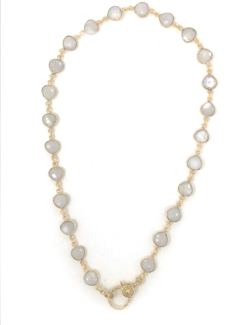 Moonstone Bezel Set Chain with Pave Diamond Vermeil Clasp