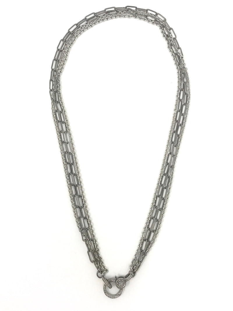 Silver and Gunmetal Chains with Pave Diamond Clasp