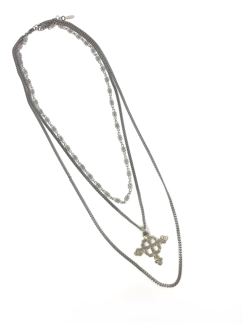 Triple Gunmetal Chain with Silver Ethiopian Cross - Necklace