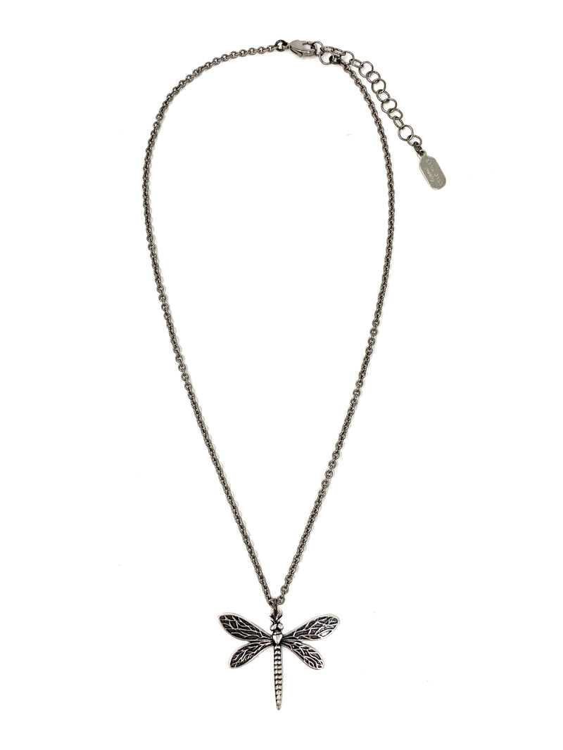 Gunmetal Dragonfly Pendant on Gunmetal Chain