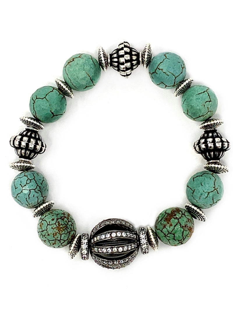 Turquoise, Vintage Silver and CZ Beaded Bracelet