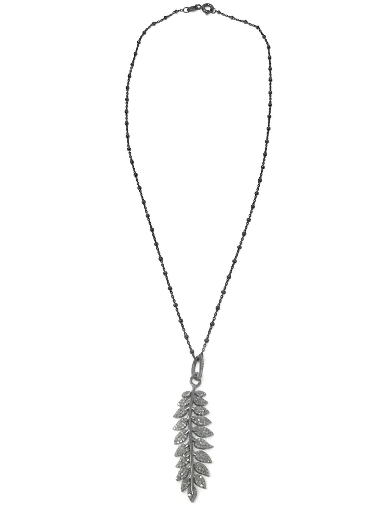 Pave Diamond Leaf Pendant on Sterling Silver Chain - Necklace