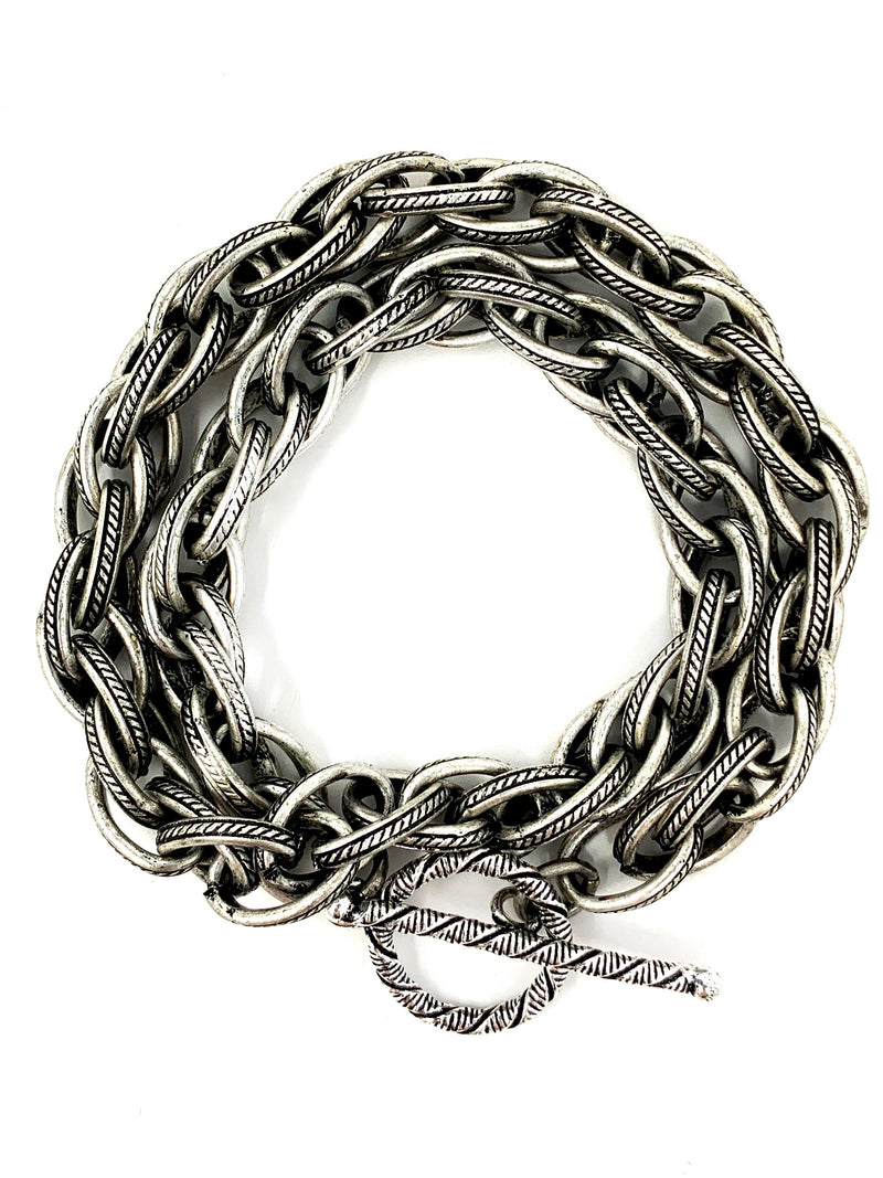 Textured Antiqued Silver Rope Chain Wrap Bracelet (or Choker)