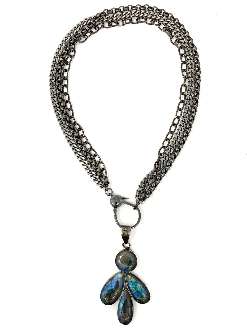 Triple Chain with Labradorite Pendant Necklace