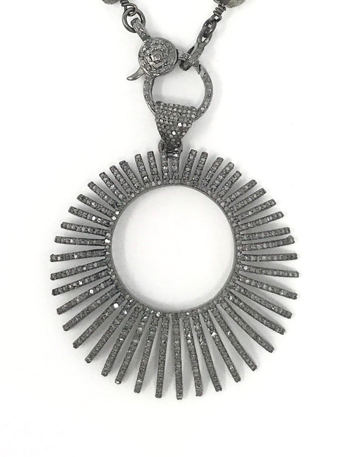 Large Sunburst Pave Diamond Pendant