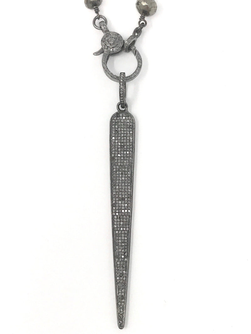 Pave Diamond Sterling Silver Spear Shaped Pendant