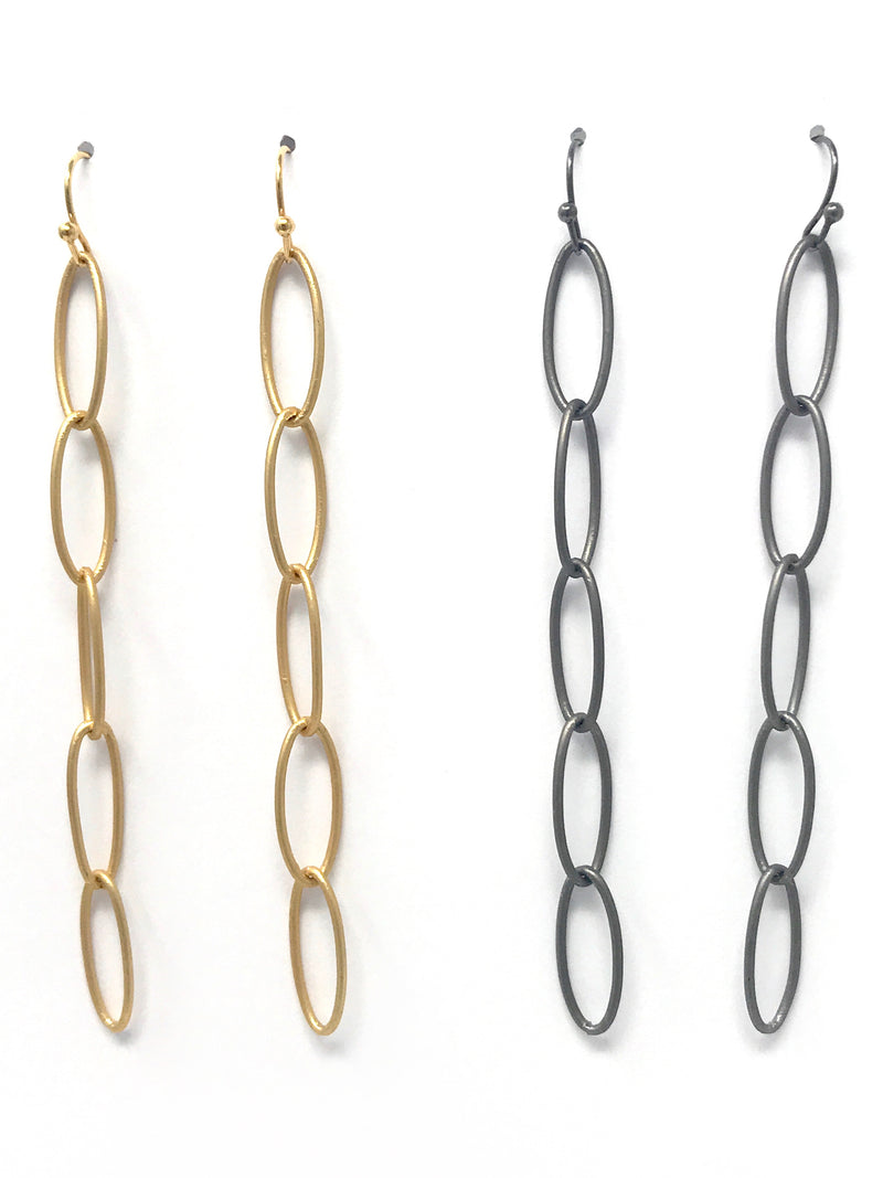 Oval Loop Chain Matte Gold or Matte Gunmetal Earrings