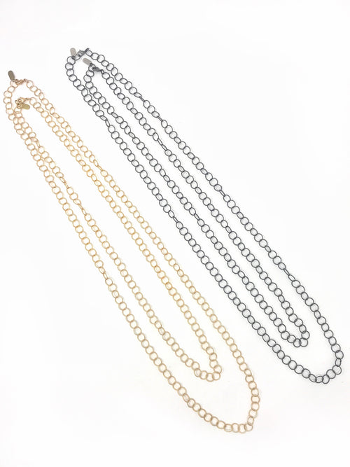 Loopy Layering Chain in Matte Gold or Matte Gunmetal and Various Lengths