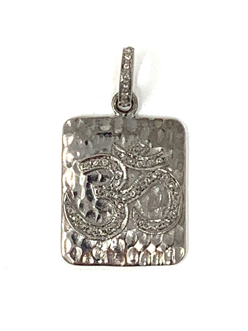 Om Sterling and Pave Diamond Tag Pendant