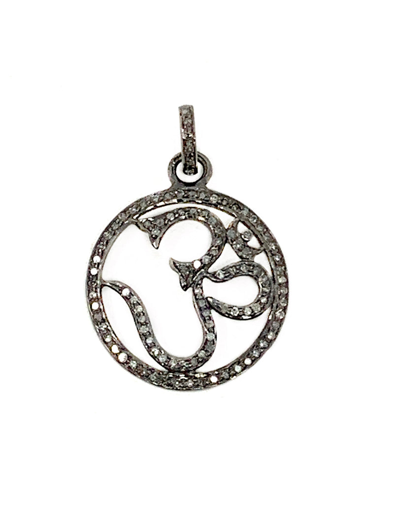 Om in Circle Pave Diamond Pendant