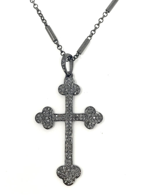 Pave Diamond and Sterling Cross Pendant on Sterling Silver Bar Chain - Necklace
