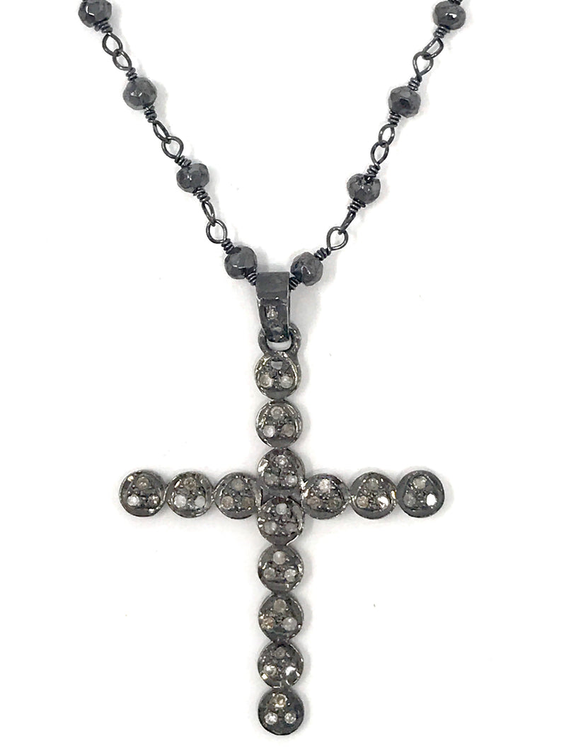 Pave Diamond and Sterling Silver Cross Pendant on Pyrite Chain - Necklace