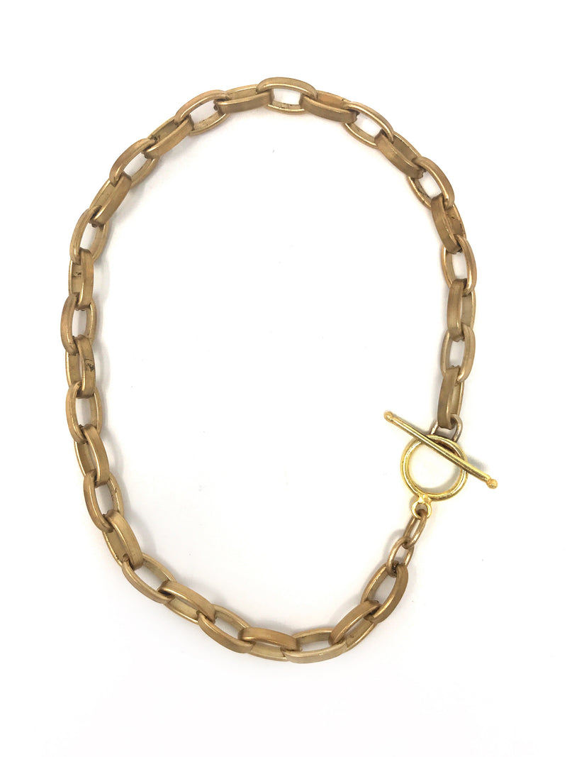 Brushed Bright Brass Chain Bracelet or Necklace