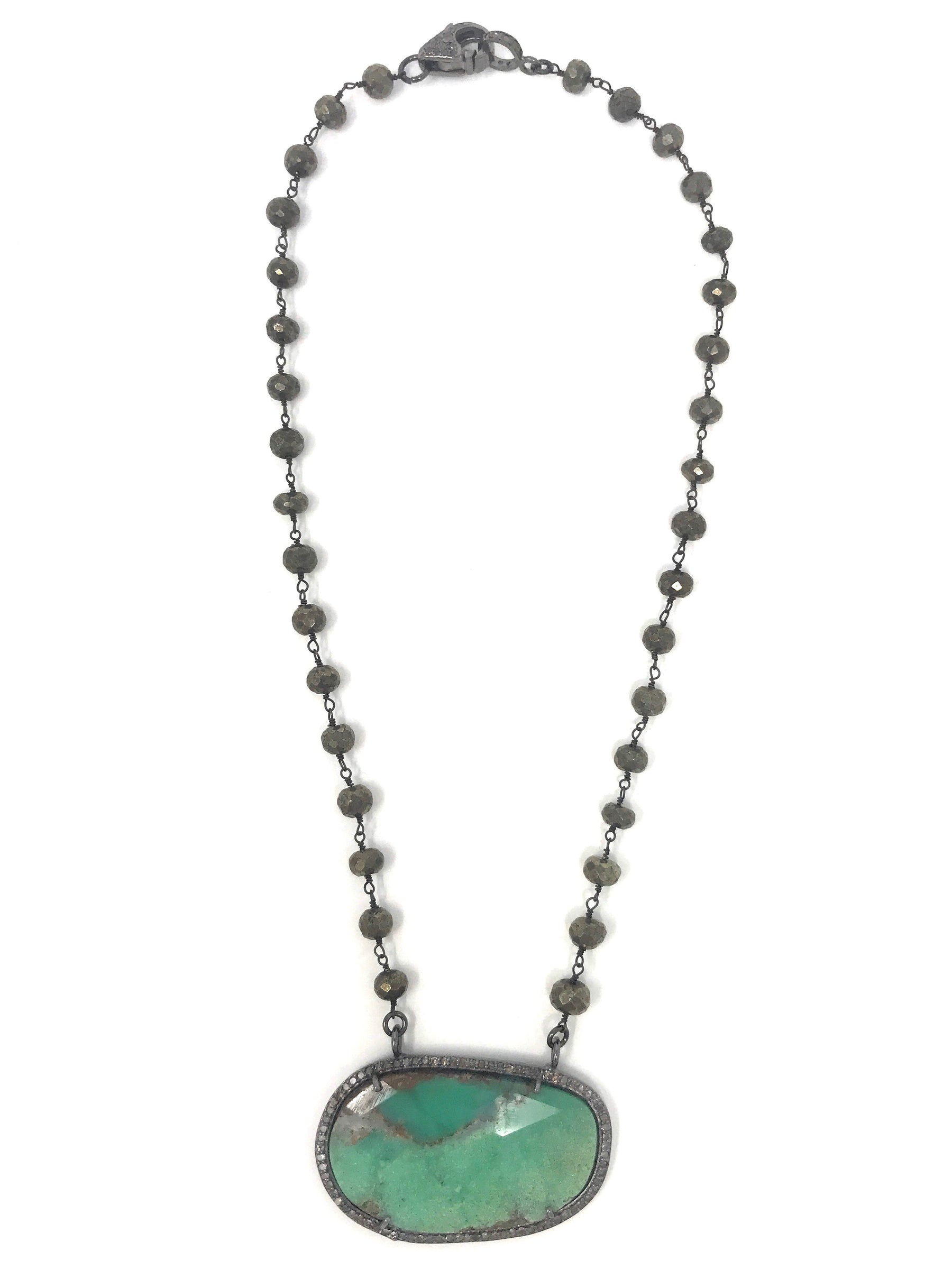 Chrysoprase and pave diamond pendant with pyrite chain with diamond chrysoprase and pave diamond pendant with pyrite chain with diamond clasp necklace aloadofball Images