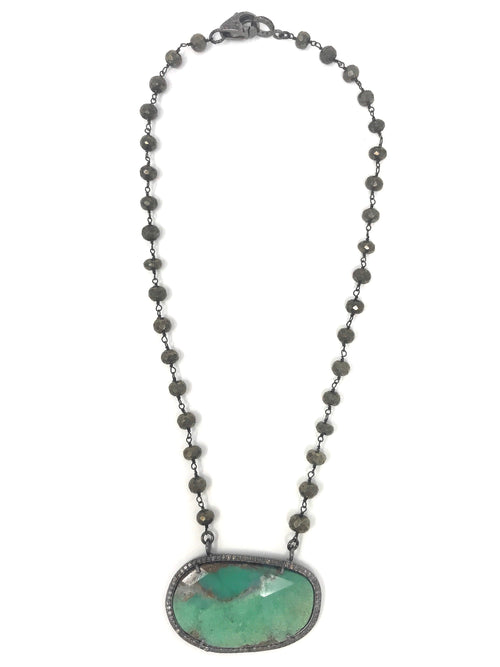 Chrysoprase and Pave Diamond Pendant with Pyrite Chain with Diamond Clasp - Necklace