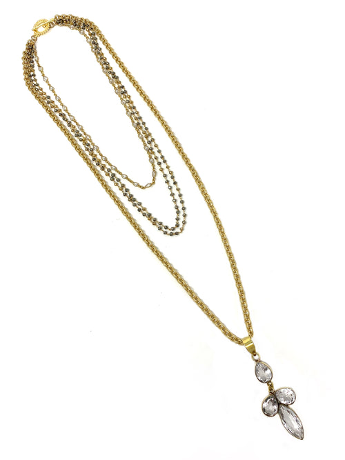 Quartz, Pyrite and CZ Layered Gold Tone Necklace