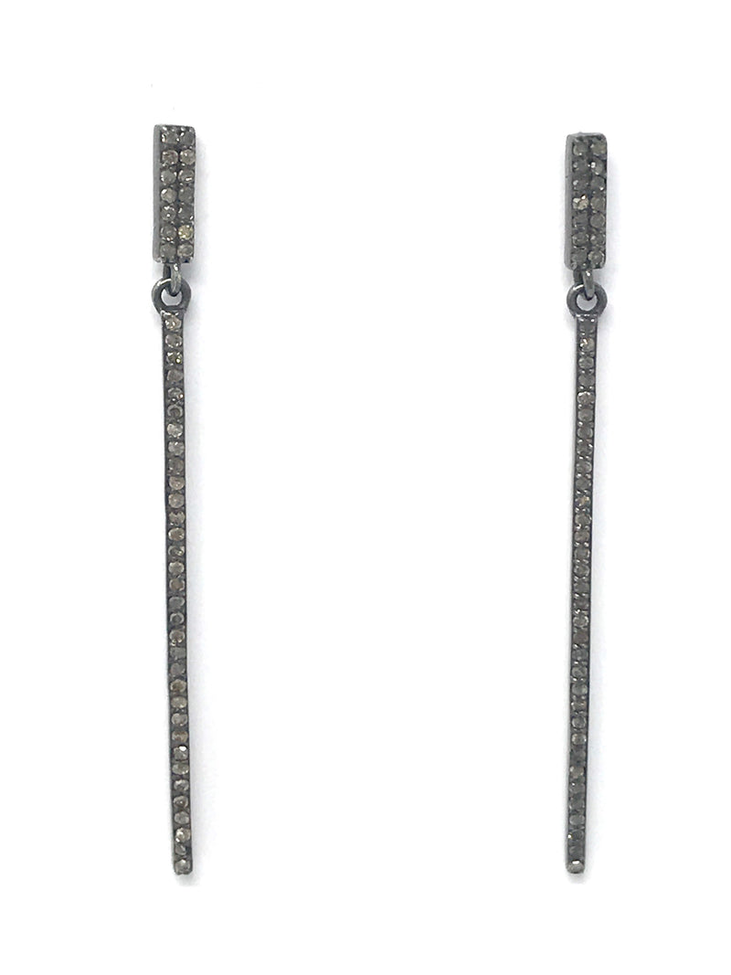 Pave Diamond Post Stick Earrings