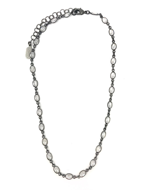 Cubic Zirconia Sterling Short Chain - Necklace