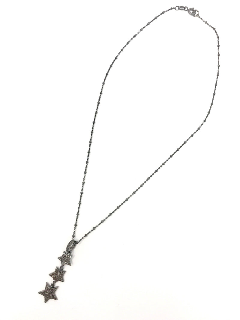 Falling Triple Star Pendant in Pave Diamonds on a Sterling Chain - Necklace
