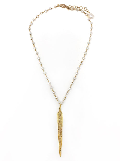 Freshwater Pearls with Pave Diamond Vermeil Spear Pendant - Necklace