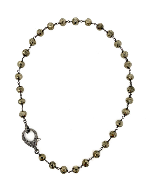 Pyrite Chain with Large Diamond Clasp