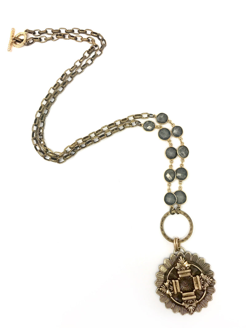 Vintage Brass Medallion with Pyrite and Brass Chain - Necklace