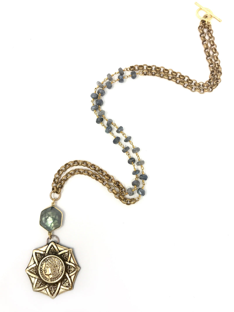 Vintage Brass Medallion with Labradorite Connector and Labradorite and Brass Rolo Chain - Necklace