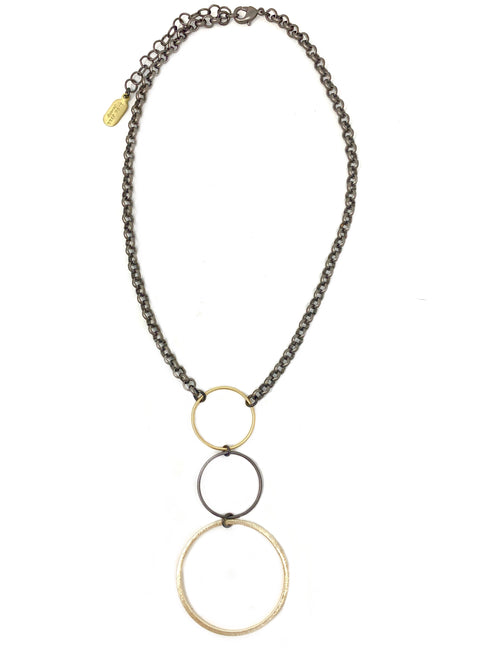Two Tone Triple Ring Necklace