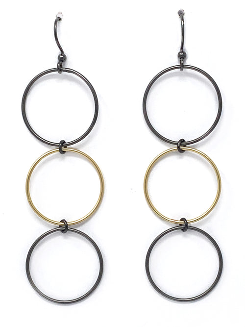 Triple Ring Gunmetal and Gold Earrings