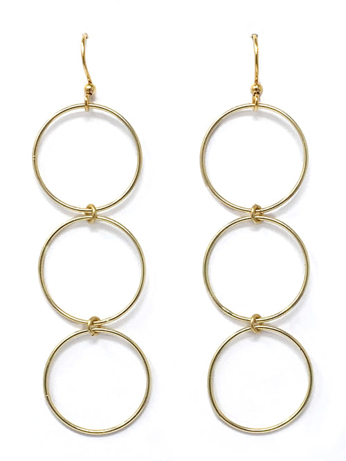Triple Ring Gold Earrings