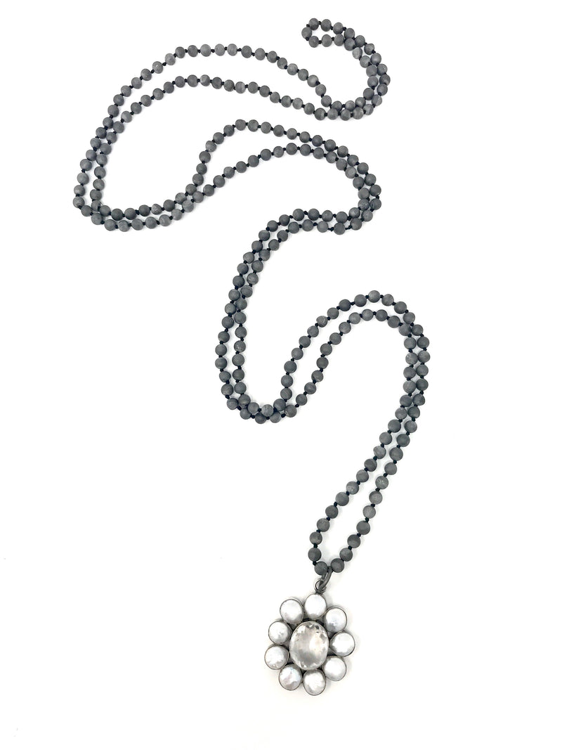 Matte Gray Druzy Agate Beads with Coin Pearl and Quartz Flower Pendant - Necklace