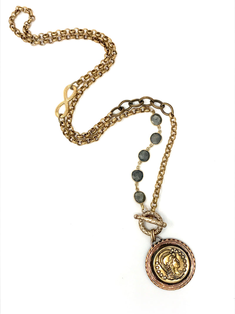 Coin Medallion with Pyrite and Brass Chain with Front Toggle - Necklace