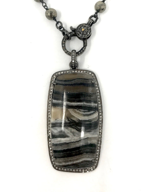 Striped Agate Rectangle with a Pave Diamond Bezel Pendant