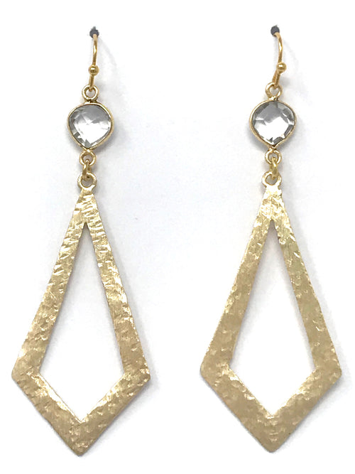 Quartz and Gold Hammered Diamond Shaped Drop Earrings