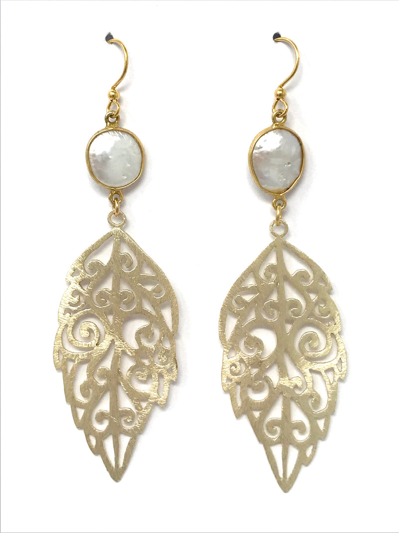 White Freshwater and Filigree Gold Feather Drop Earrings