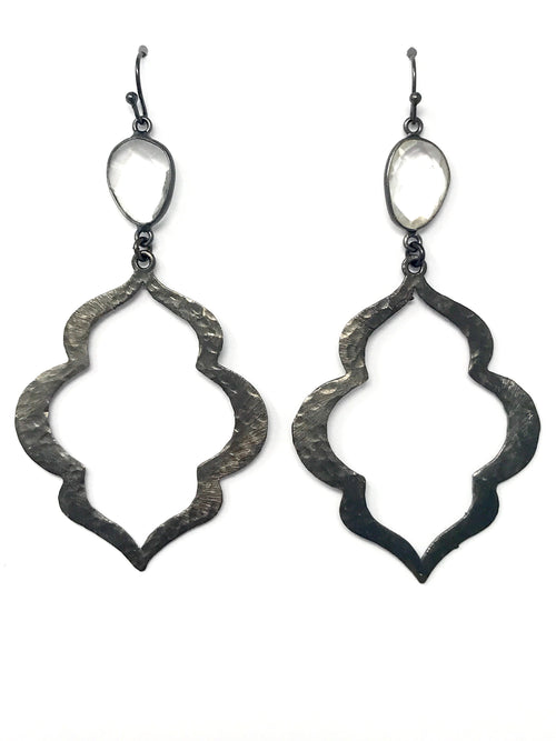 Quartz and Hammered Large Gunmetal Scallop Shaped Drop Earrings