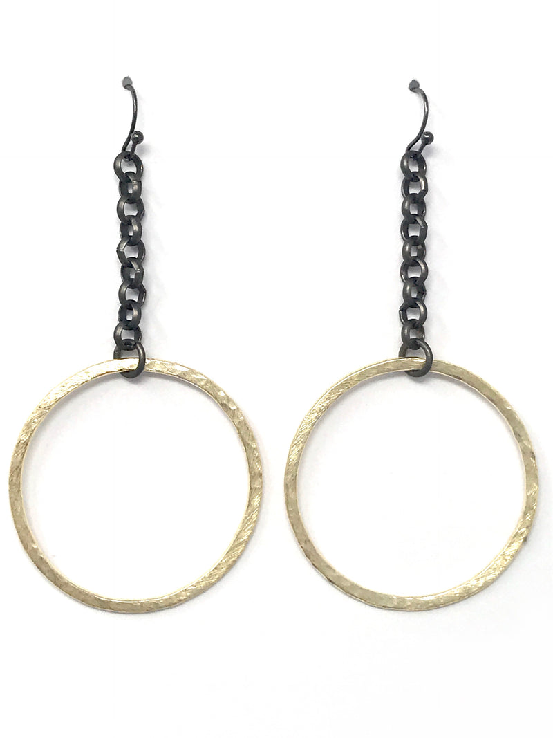 Gold Hammered Hoop with Matte Gunmetal Chain Earrings