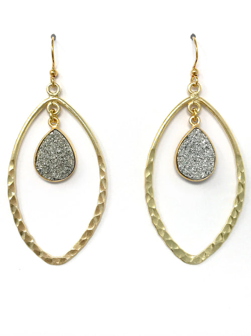 Druzy and Gold Hammered Hoop Earrings