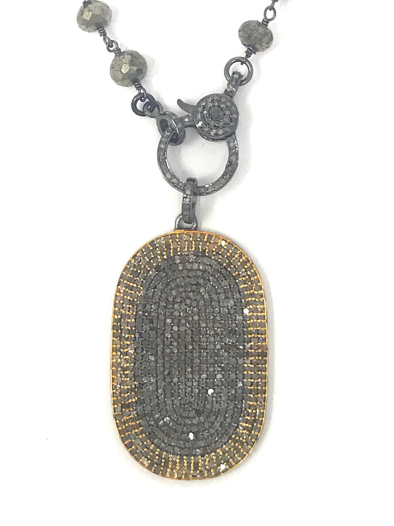 Two Tone Pave Diamond Vermeil and Dark Silver Dog Tag Pendant