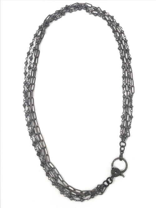 Hematite and Gunmetal Chains with Diamond Clasp