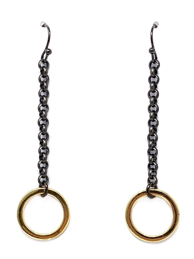 Gunmetal Chain with Gold Ring Long Earrings