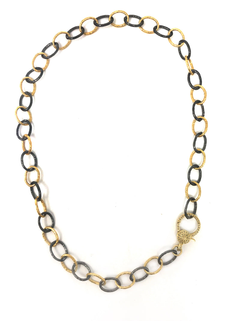 Two Tone Dark Sterling and Vermeil Large link Chain with Diamond Clasp