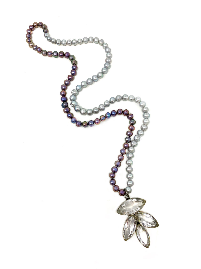 Peacock and Silver Freshwater Pearls with Faceted Quartz Set in Sterling