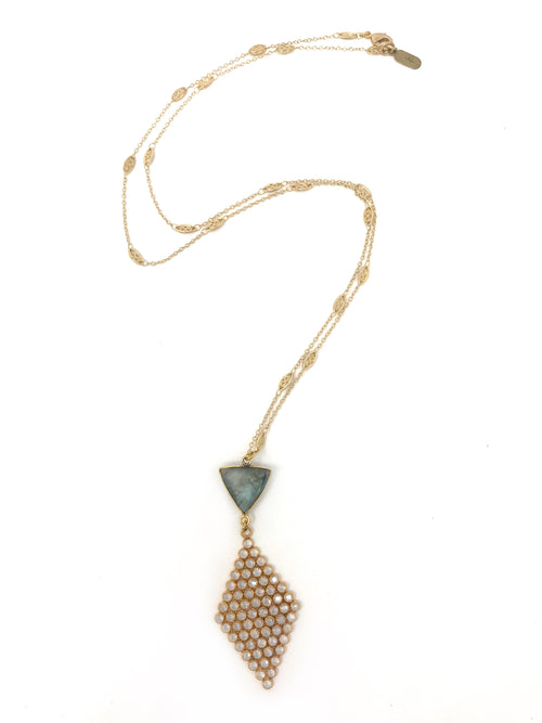Quartz Mosaic and Labradorite Pendant on Filigree Gold Chain