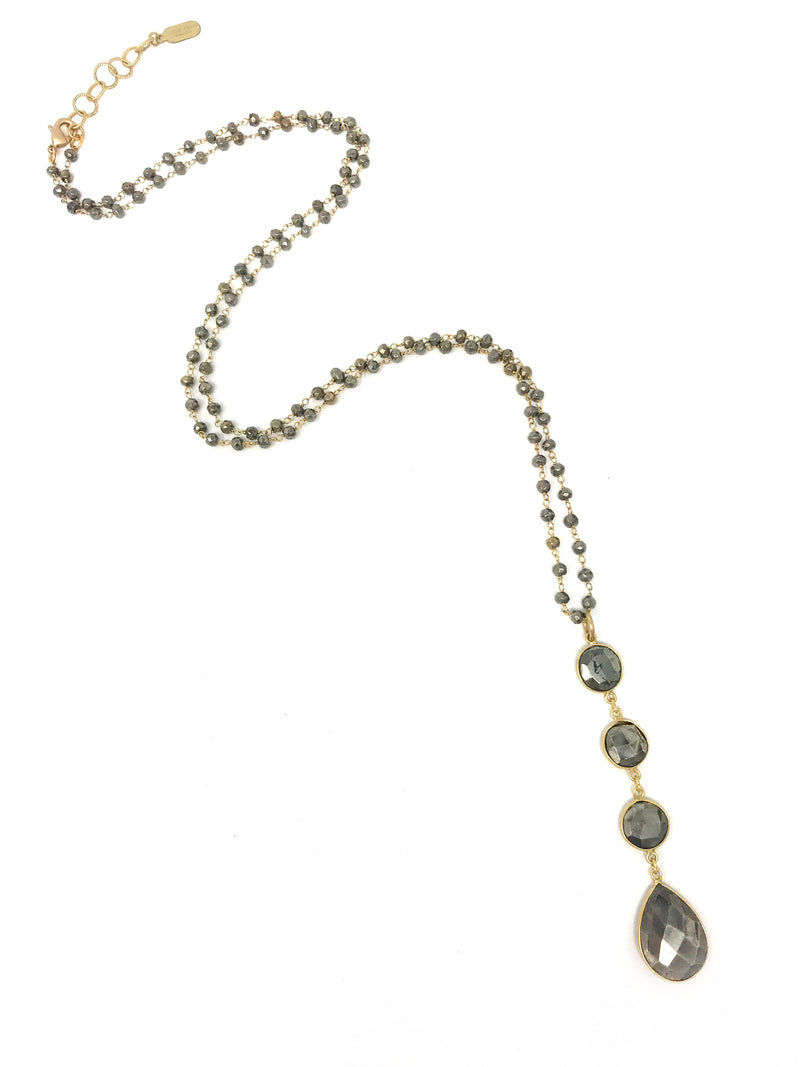 Pyrite Beaded Chain With Long Pyrite Drop Pendant - Necklace