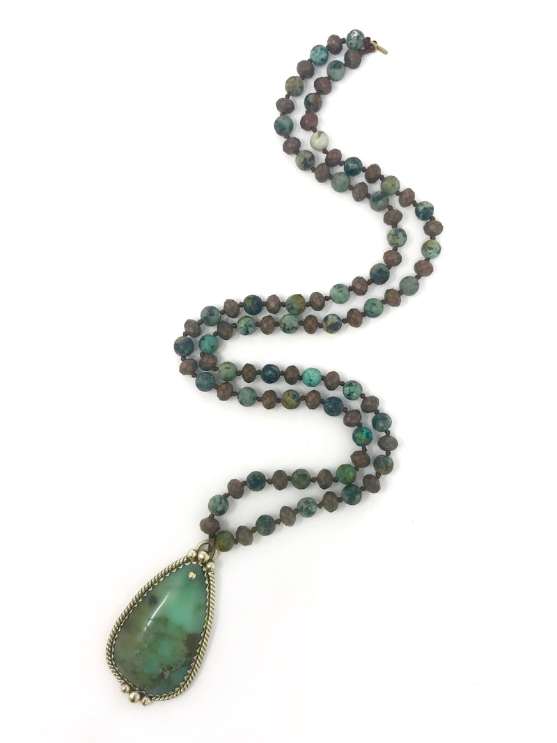 Chrysoprase Tibetan Pendant on Turquoise and Brown Beads - Necklace